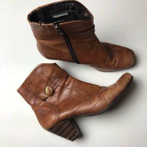 Tamaris Shoes - Tamaris Brown Ankle Boots Heels Heeled Buckle VTG